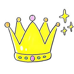 How to Draw a Golden Princess Crown Step by Step for Kids