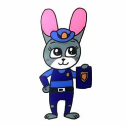 How to Draw Rabbit Police Officer Judy Hopps Step by Step for Kids