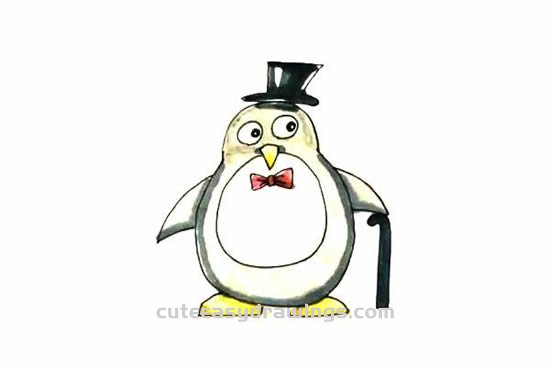How to Draw a Cartoon Penguin with a Hat and a Cane Step by Step