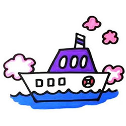 How to Draw a Boat Parked at Sea Step by Step for Kids
