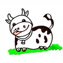 How to Draw a Cow on the Grass Step by Step for Kids