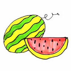 How to Simple Draw a Watermelon Step by Step for Kids