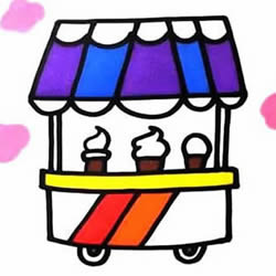 How to Draw an Ice Cream Cart Step by Step for Kids