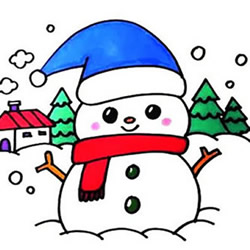 How to Draw a Beautiful Snowman Step by Step for Kids