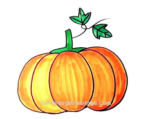 How to Draw a Colorful Big Pumpkin Step by Step for Kids - Cute Easy Drawings