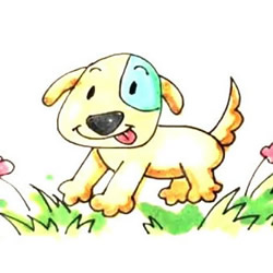 How to Draw a Puppy Playing on the Grass Step by Step for Kids