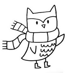 How to Draw a Cartoon Owl in Winter Step by Step for Kids