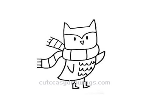 How To Draw A Cartoon Owl In Winter Step By Step For Kids Cute Easy Drawings