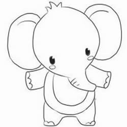 How to Draw a Standing Cartoon Elephant Baby Step by Step for Kids