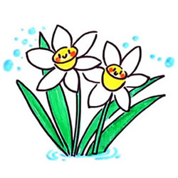 How to Draw Cute Narcissuses Step by Step for Kids
