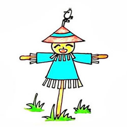 How to Draw a Colorful Scarecrow Step by Step for Kids
