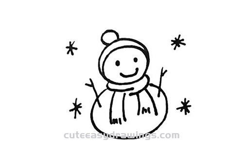 How to Simple Draw a Snowman Step by Step for Kids