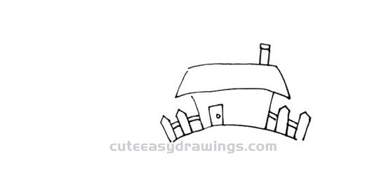 How to Draw a Small House on a Hillside Step by Step for Kids