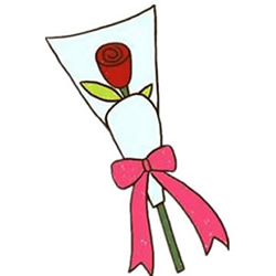 How to Draw a Bunch of Valentine's Day Rose Step by Step for Kids