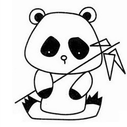 How to Draw a Giant Panda Eating Bamboo Step by Step for Kids