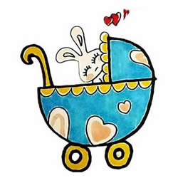 How to Draw a Baby Carriage for a Bunny Step by Step for Kids