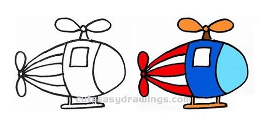 How to Draw a Cartoon Helicopter Step by Step for Kids