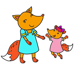 How to Draw a Happy Little Fox and Mother Step by Step for Kids