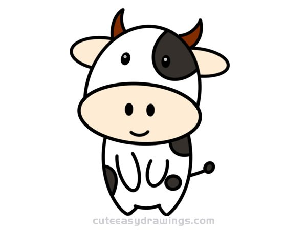 How To Draw A Cute Cartoon Cow Step By Step For Kids Cute Easy