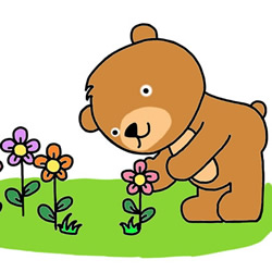 How to Draw a Little Bear That Picks Flowers Step by Step