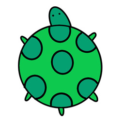 How to Simple Draw a Green Turtle Step by Step for Kids