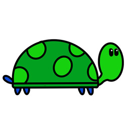 How to Draw a Walking Cartoon Turtle Step by Step for Kids