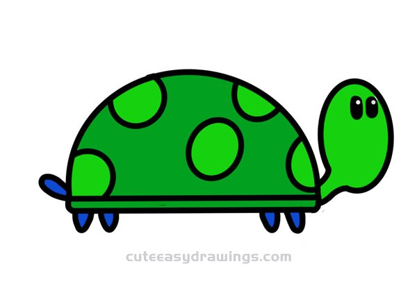 How To Draw A Walking Cartoon Turtle Step By Step For Kids Cute Easy Drawings