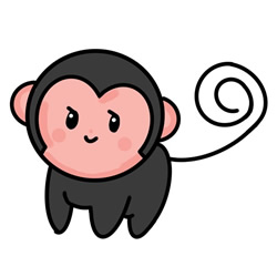 How to Simple Draw a Monkey Baby Step by Step for Kids