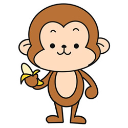 How to Draw a Cartoon Monkey Eating Banana Step by Step for Kid