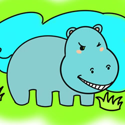 How to Draw a Funny Hippo by the Lake Step by Step for Kids