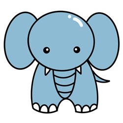 How to Simple Draw a Cute Elephant Step by Step for Kids