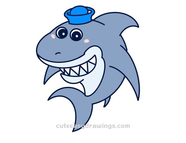 How to Draw a Funny Shark Wearing a Hat Step by Step for Kids