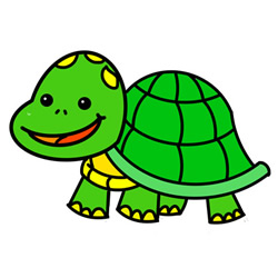 How to Simple Draw a Happy Turtle Step by Step for Kids