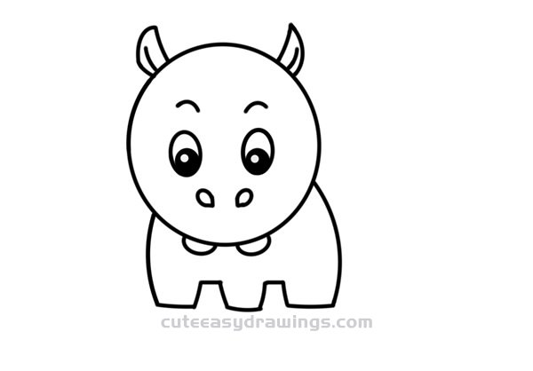 How to Simple Draw a Little Hippo Step by Step for Kids