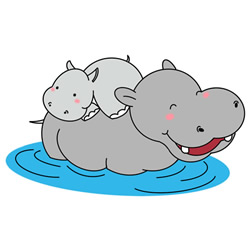 How to Draw Hippo Mother and Baby Step by Step for Kids