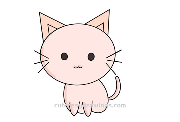 How To Simply Draw A Cute Cartoon Cat Step By Step For Kids Cute Easy Drawings