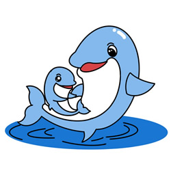 How to Draw Dolphin Mom and Baby Step by Step for Kids