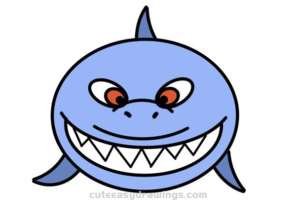 How to Draw a Shark Head Avatar Easy Step by Step for Kids
