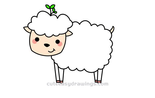 How To Draw A Cartoon Little Sheep Easy Step By Step For Kids Cute Easy Drawings