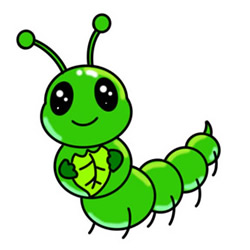 How to Draw a Caterpillar Eating a Leaf Easy Step by Step for Kids