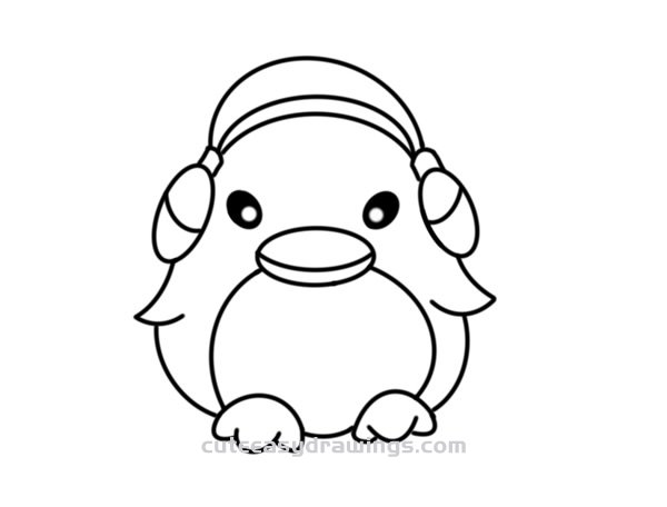 How to Draw a Penguin with Earmuffs Easy Step by Step for Kids