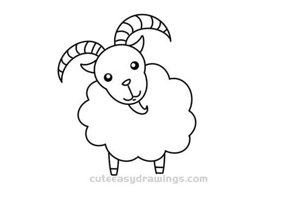 How to Draw a Goat with Horns Easy Step by Step for Kids