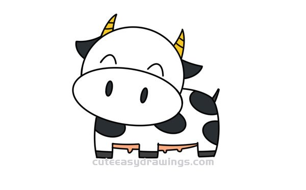 How To Draw A Cow Smiling Easy Step By Step For Kids Cute Easy