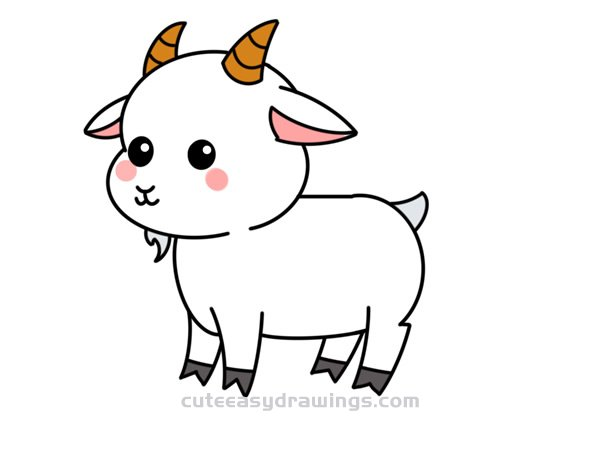 How To Draw A Beautiful Goat Easy Step By Step For Kids Cute Easy Drawings