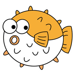 How to Draw a Cartoon Puffer Fish Easy Step by Step for Kids
