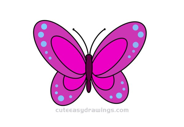 How To Draw A Butterfly Easy Step By Step For Kids Cute Easy Drawings