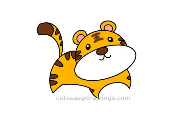 How To Draw A Cute Cartoon Tiger Easy Step By Step For Kids Cute