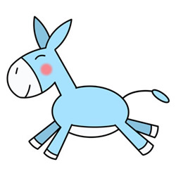 How to Draw a Running Donkey Easy Step by Step for Kids