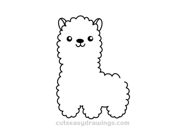 How to Draw a Cute Cartoon Alpaca Easy Step by Step for Kids