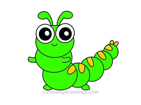 How To Draw A Cute Caterpillar Easy Step By Step For Kids Cute